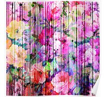Vintage Bright Chic Floral Pattern Purple Wood Poster