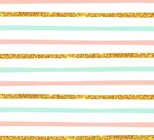Modern Girly Pink Teal Gold Glitter Stripe Pattern by GirlyTrend