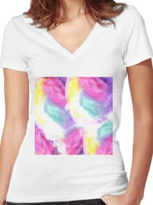 Girly bright pastel watercolor brush strokes Women's Fitted V-Neck T-Shirt