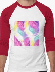 Girly bright pastel watercolor brush strokes Men's Baseball ¾ T-Shirt
