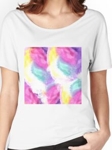 Girly bright pastel watercolor brush strokes Women's Relaxed Fit T-Shirt