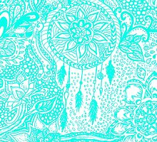 Hipster turquoise dreamcatcher floral doodles by GirlyTrend