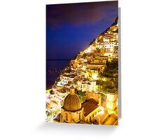 Positano Italy At Night Greeting Card
