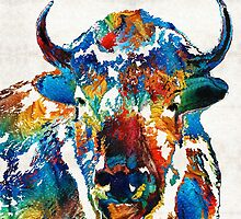 Colorful Buffalo Art - Sacred - By Sharon Cummings by Sharon Cummings