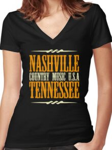Nashville Tennessee Country Music Women's Fitted V-Neck T-Shirt