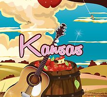 Kansas vintage cartoon travel poster by Nick  Greenaway