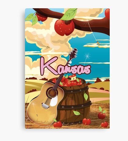 Kansas vintage cartoon travel poster Canvas Print