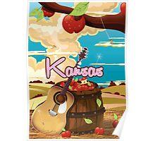 Kansas vintage cartoon travel poster Poster