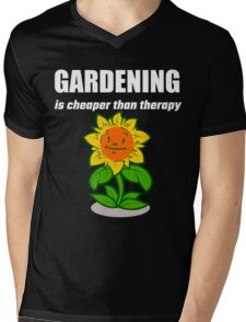 Gardening Is Cheaper Than Therapy Mens V-Neck T-Shirt