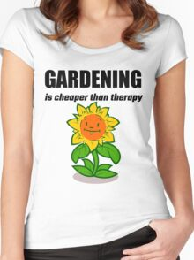 Gardening Is Cheaper Than Therapy Women's Fitted Scoop T-Shirt