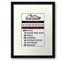 Schumacher records Framed Print
