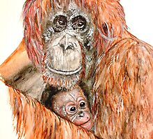 Orangutang and babe by bind