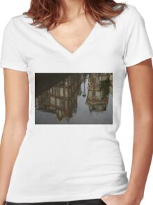 Starting to Rain - Amsterdam Canal Houses Reflected Women's Fitted V-Neck T-Shirt