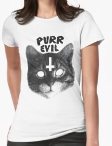 Purr Evil Cat Womens Fitted T-Shirt