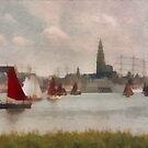 Sailboats in Antwerp - Belgium by Gilberte