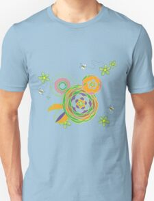 Green and orange flowers with bees T-Shirt