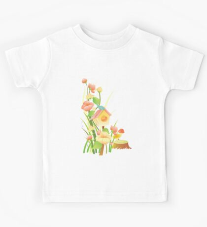 Yellow and peachy watercolor flowers Kids Tee