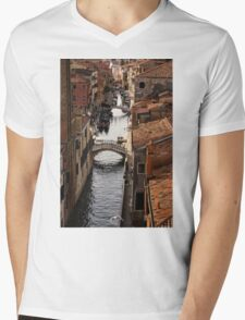 Red Roofs of Venice Mens V-Neck T-Shirt