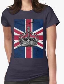 British union jack flag jubilee vintage crown  Womens Fitted T-Shirt