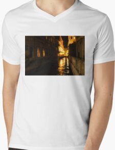 Golden Glow - Venice, Italy at Night Mens V-Neck T-Shirt
