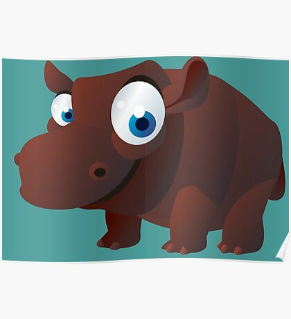 Funny brown hippo Poster