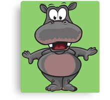 Funny cartoon hippo Canvas Print