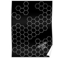 Beehive and Bee Black Poster