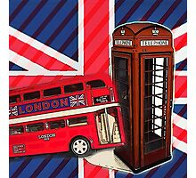union jack london bus vintage red telephone booth Photographic Print