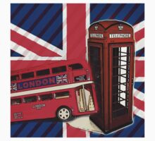 union jack london bus vintage red telephone booth Kids Clothes