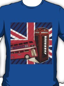 union jack london bus vintage red telephone booth T-Shirt