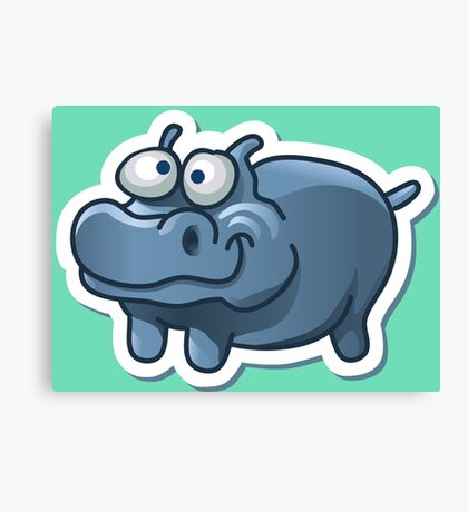 Silly funny hippo Canvas Print