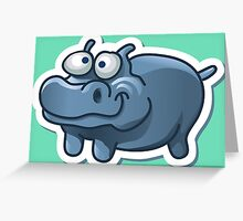 Silly funny hippo Greeting Card