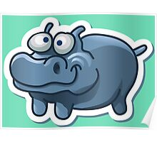Silly funny hippo Poster