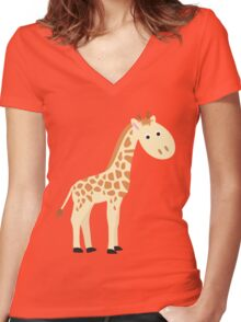 Watercolor baby giraffe Women's Fitted V-Neck T-Shirt