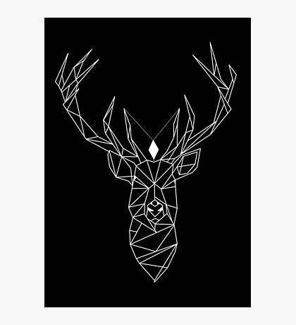 Deer Black Photographic Print