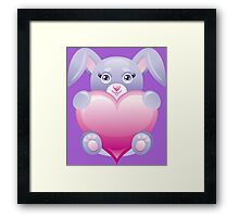 Lovely baby rabbit with heart Framed Print
