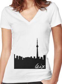 Toronto Skyline Women's Fitted V-Neck T-Shirt