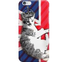 uk union jack flag london telephone booth funny royal kitty cat iPhone Case/Skin