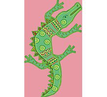 Green crocodile with floral pattern Photographic Print