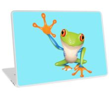 Colorful funny green frog Laptop Skin