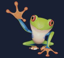 Colorful funny green frog Kids Tee