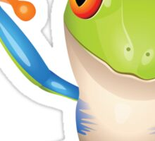 Colorful funny green frog Sticker