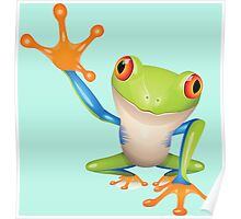 Colorful funny green frog Poster