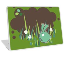 Green bunny with flowers Laptop Skin