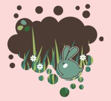 Green bunny with flowers One Piece - Long Sleeve