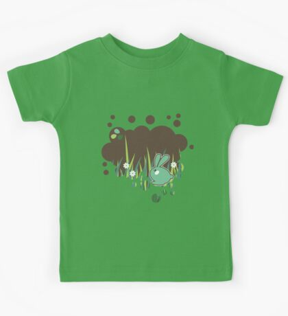 Green bunny with flowers Kids Tee
