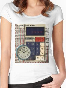 cool geeky nerdy alarm clock retro calculator  Women's Fitted Scoop T-Shirt