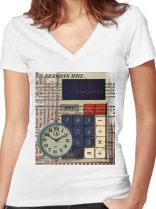 cool geeky nerdy alarm clock retro calculator  Women's Fitted V-Neck T-Shirt