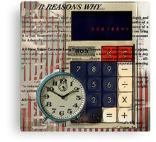 cool geeky nerdy alarm clock retro calculator  Canvas Print