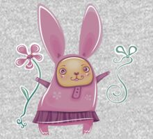 Pink girl bunny in skirt One Piece - Long Sleeve